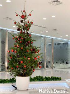オフィスのエントランスに飾るクリスマスツリー 高さ2.5m